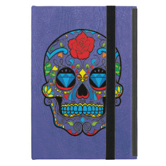 Blue Leather Print & Colorful Floral Sugar Skull iPad Mini Cover