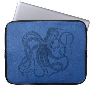 Blue Leather Print & Nautical Octopus Laptop Sleeve