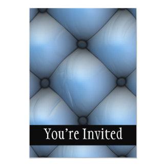 "Blue Leather Tuck & Roll Interior 5"" X 7"" Invitation Card"