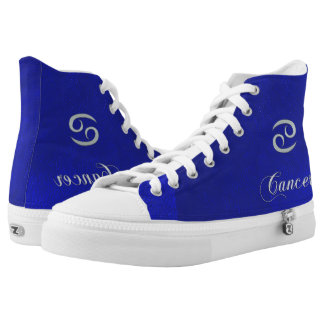 Blue Leather Zodiac Sign Cancer High Top Shoes