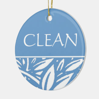 Blue Leaves Clean Dirty Dishwasher Hanger Ceramic Ornament