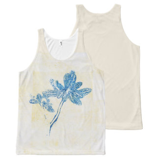 Blue Leaves Floral Monoprint Tank