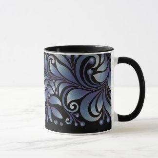 blue leaves mug