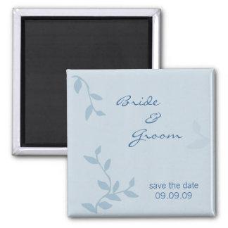 Blue Leaves Save the Date Fridge Magnet