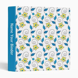 Blue Leaves Yellow Floral Pattern On White Vinyl Binder