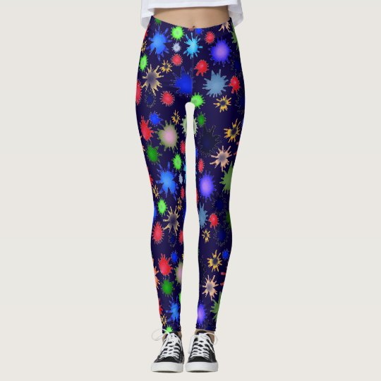 blue leggings with colourful ink drops,leggings