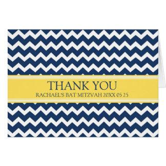 Blue Lemon Chevron Bat Mitzvah Thank You Card