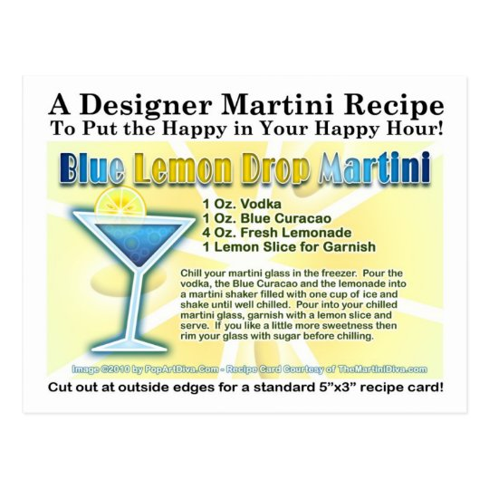 Blue Lemon Drop Martini Recipe Postcard