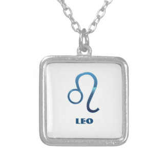 Blue Leo Zodiac Signs On White Silver Plated Necklace