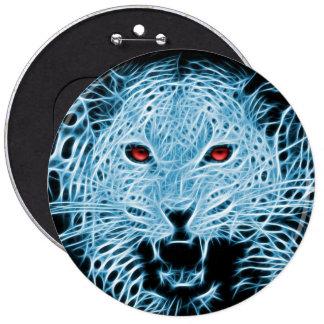 Blue leopard artistic illustration 6 inch round button