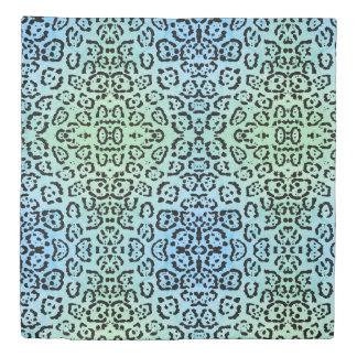 Blue Leopard Cat Animal Oil Paint Effect Green Duvet Cover