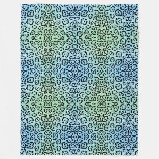 Blue Leopard Cat Animal Oil Paint Effect Green Fleece Blanket