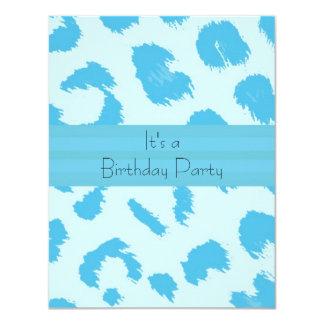 Blue Leopard Fur Pattern Birthday Party Invitation