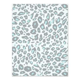 """Blue leopard print 4.25"""" x 5.5"""" invitation card"""