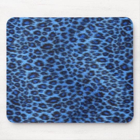 Blue Leopard Print Mousepad