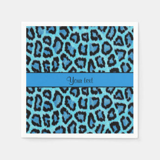 Blue Leopard Print Paper Napkin