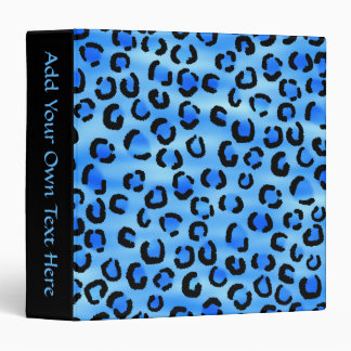 Blue Leopard Print Pattern. 3 Ring Binder