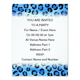 """Blue Leopard Print Pattern. 4.25"""" X 5.5"""" Invitation Card"""