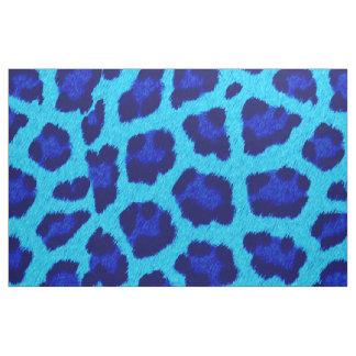 Blue  Leopard Print Pattern Fabric