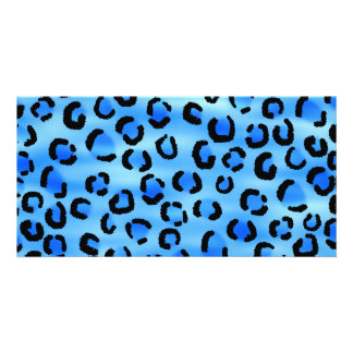 Blue Leopard Print Pattern. Photo Card Template