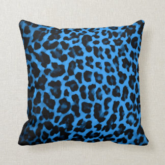 Blue Leopard Print Pillow
