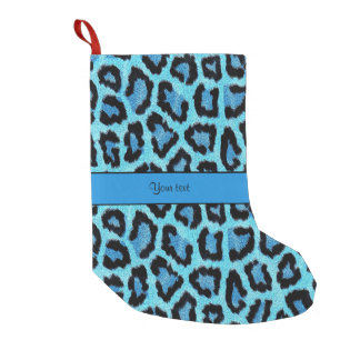 Blue Leopard Print Small Christmas Stocking