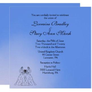 Blue Lesbian Wedding Invitation