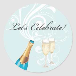 "Blue ""Let's Celebrate!"" Champagne Sticker"
