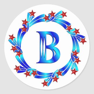 Blue Letter B Monogram Red Stars Classic Round Sticker