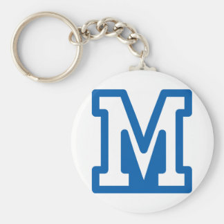 Blue Letter M Keychain