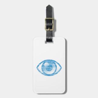 Blue Letterpress Style Eye-Con Luggage Tag