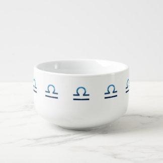 Blue Libra Zodiac Signs On White Soup Mug