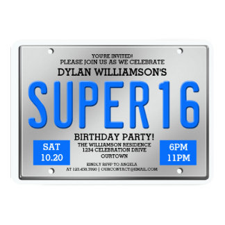 Blue License Plate Super 16 Party Invitations