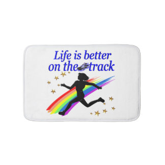 BLUE LIFE IS BETTER ON THE TRACK DESIGN BATHROOM MAT