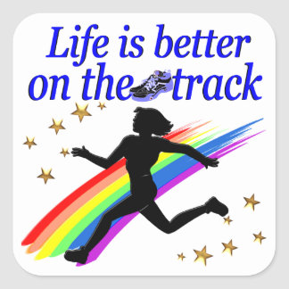 BLUE LIFE IS BETTER ON THE TRACK DESIGN SQUARE STICKER