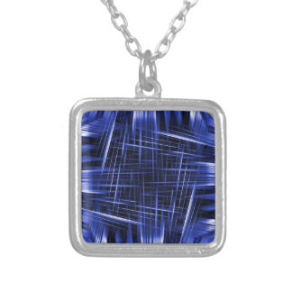 Blue light beams pattern silver plated necklace