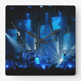 blue light effects concert square wall clock