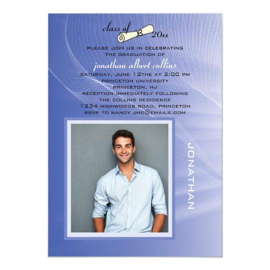 Blue Light Photo Graduation Invitation