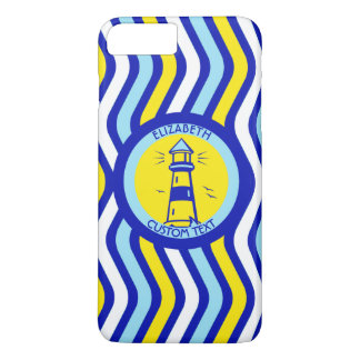 Blue Lighthouse In Yellow Circle iPhone 7 Plus Case