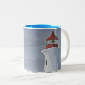 Blue Lighthouse iphone Two-Tone Coffee Mug