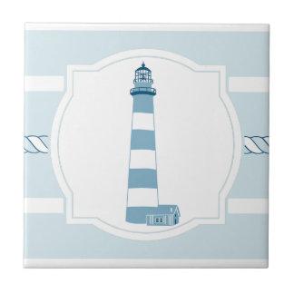Blue lighthouse nautical stripes ceramic tile