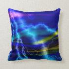 Blue Lightning Abstract Art Throw Pillow