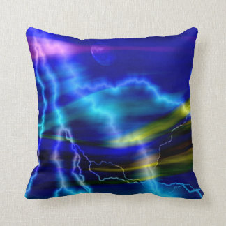 Blue Lightning Abstract Art Throw Pillow