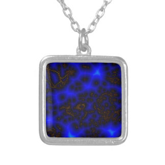 Blue Lightning Abstract Silver Plated Necklace