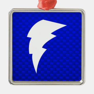 Blue Lightning Bolt Silver-Colored Square Ornament