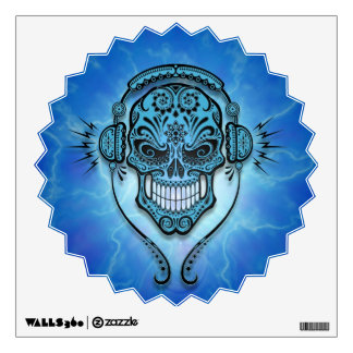 Blue Lightning DJ Sugar Skull Wall Sticker