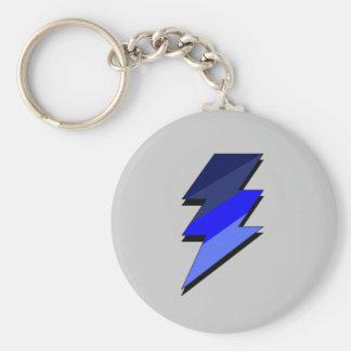 Blue Lightning Thunder Bolt Basic Round Button Keychain
