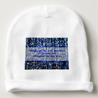 Blue Lights Abstract Text Baby Beanie