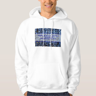 Blue Lights Abstract Text Hoodie