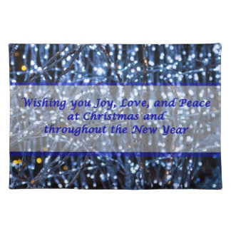 Blue Lights Abstract Text Placemat